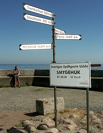 Geography of Sweden - Signpost in the harbour of Smygehuk, Sweden's southernmost point