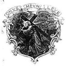 Lo stemma dell'ordine reca l'immagine di Gesù, caricato della croce, che sale al Calvario e il motto Onus meum leve (il mio carico è leggero, Mt 11,30)