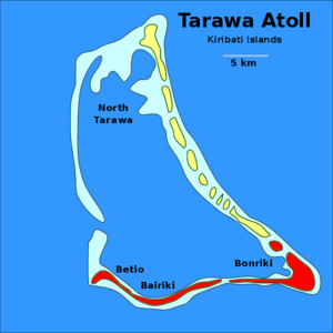 Tarawa - Map of South Tarawa (red) and North Tarawa (yellow) within Tarawa Atoll