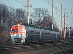 Southbound Amtrak Metroliner with cab car 880 at Bowie, December 1980.jpg