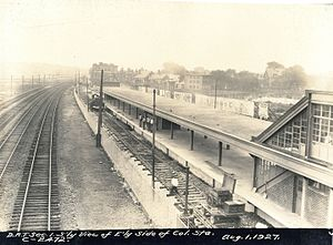 Red Line (MBTA) - Columbia station (later JFK/UMass) on the Dorchester Extension under construction in 1927