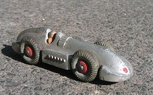 "Dinky Toys - Dinky 23e model of George Eyston's land record car, ""Speed of the Wind"". This toy was made from 1936-1940."