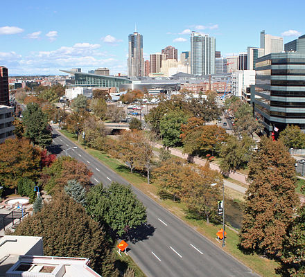 Speer Boulevard runs north and south through downtown Denver. Speer Boulevard Denver.JPG