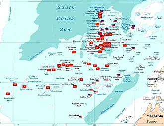South China Sea - Map of various countries occupying the Spratly Islands