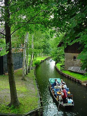 Lübbenau - A tourist boat on a Spreewald canal in Lübbenau-Lehde