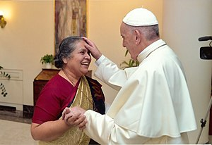Lucy Kurien - Sr. Lucy with Pope Francis