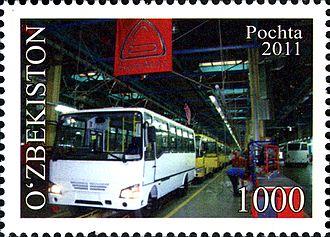 Automotive industry in Uzbekistan - SAZ bus on the stamp of Uzbekistan, 2011