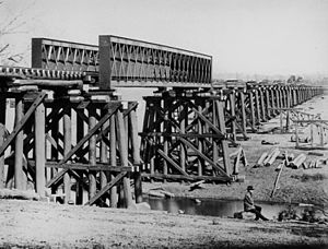 Condamine River - Railway bridge construction at Warwick, 1882