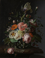 Still life with flowers on a marble slab