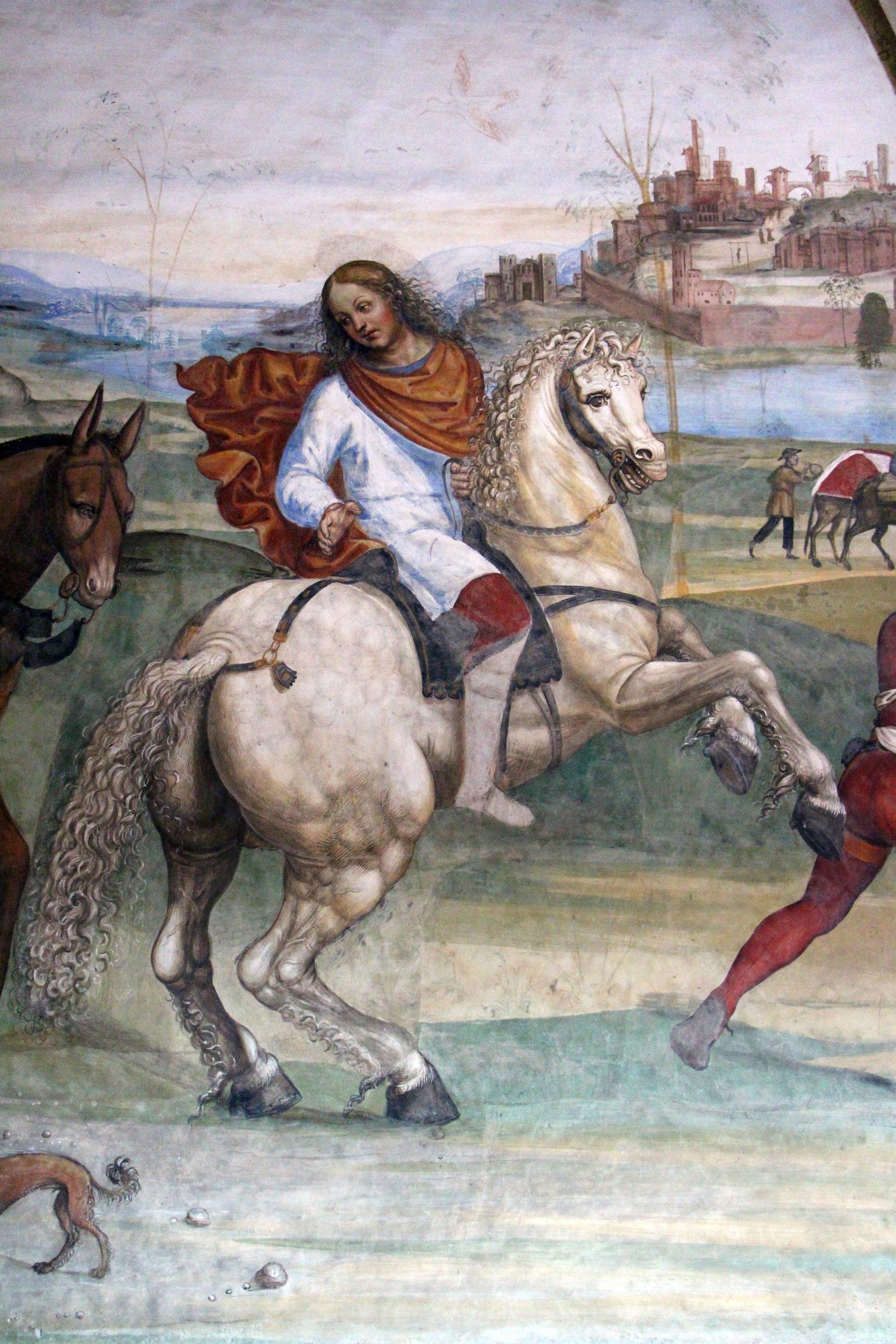 Storie di s. benedetto, 01 sodoma - Come Benedetto lascia la casa paterna e recasi a studio a Roma 03