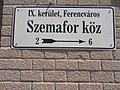 Street sign, Szemafor lane, 2017 Ferencváros.jpg