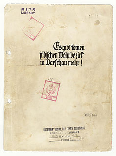 Stroop Report Official report prepared by Jürgen Stroop for the Heinrich Himmler, about German suppression of the Warsaw Ghetto Uprising and the liquidation of the ghetto. There exist two copies of the report: one held in Poland and the other in US.