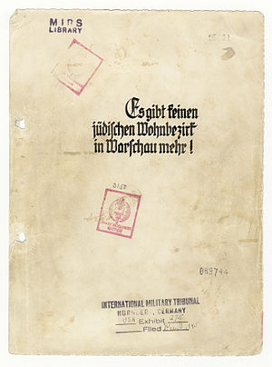 """Stroop Report - The cover page of the """"American copy"""" of The Stroop Report with International Military Tribunal in Nuremberg markings."""