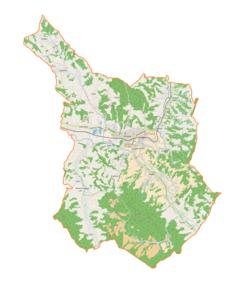 """Mapa konturowa gminy Strzyżów, na dole nieco na prawo znajduje się punkt z opisem """"Bonarówka"""""""