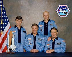 v.l.n.r. Donald Peterson, Paul Weitz, Story Musgrave, Karol Bobko
