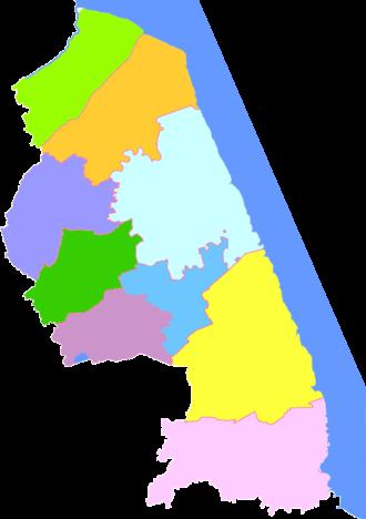 Yancheng - Image: Subdivisions of Yancheng, China