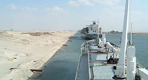 Suezmax - Two ships moored at El Ballah during a Suez Canal transit