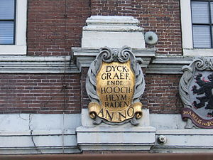 Dijkgraaf (official) - The first of a series of gablestones on a Gemeenlandshuis in Halfweg built in 1645; each stone represents the heraldic shield of the dike-reeve and his men, known as the heemraden, or in this case, the high or hoogheemraden