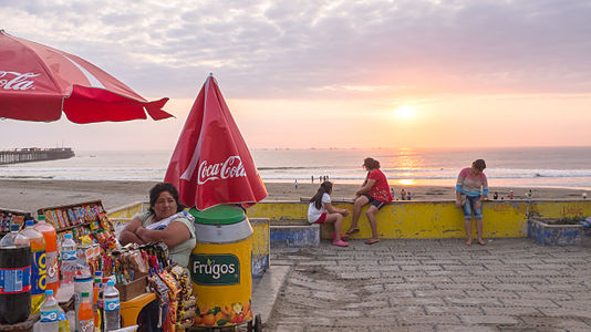 Sunset over Pimentel, Peru.