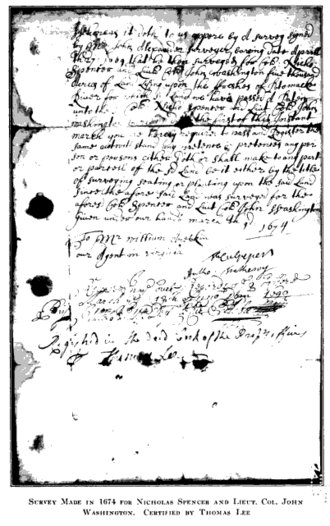 John Washington - Survey of 1674, certified by Thomas Lee, for 5,000-acre land grant