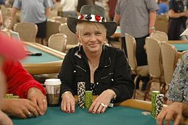 Susie Isaacs tijdens de World Series of Poker 2005