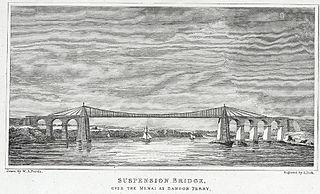 Suspension bridge: over the Menai at Bangor Ferry