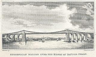 Suspension bridge over the Menai at Bangor Ferry