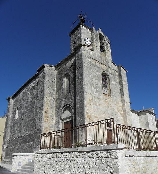 Église Saint-Martin de Sussargues (34). Façade occidentale et flanc nord.