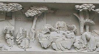 Während der Kulturrevolution beschädigter Figurenfries des Gartenhauses eines reichen kaiserlichen Beamten in Suzhou, China