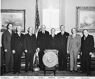 Clinton Presba Anderson - Attendees at the swearing in of Secretary of the Smithsonian Institution Leonard Carmichael in 1953. Senator Clinton P. Anderson is at left.