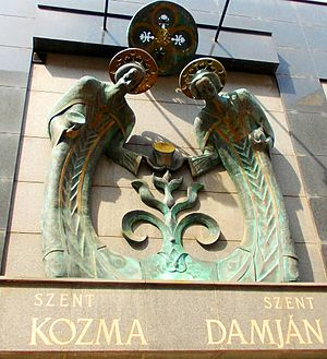 Saints Cosmas and Damian - Saints Cosmas and Damian Commemorative Plaque in Budapest