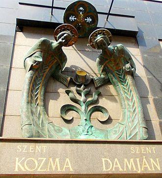 Saints Cosmas and Damian - Saints Cosmas and Damian Commemorative Plaque in Budapest