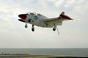 T-2C VT-19 landing aboard USS Forrestal (AVT-59) 1992.JPEG