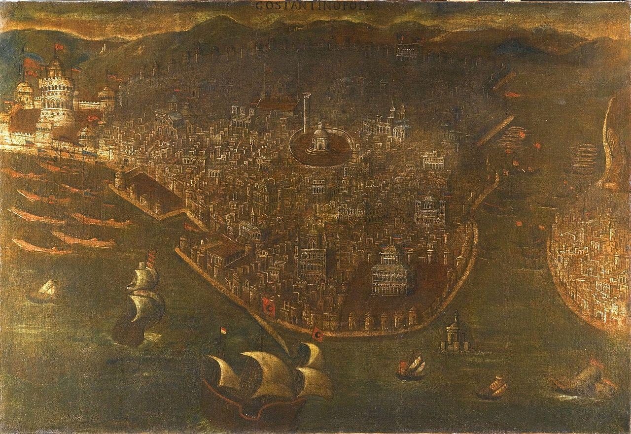 Падение Константинополя. Неизвестный венецианский художник кон. XV — нач. XVI в. Видны османские, а также генуэзские, венецианские, критские и византийские суда. Над Золотыми воротами и Керкопортой развеваются османские флаги, над городом — клубы дыма.