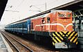 TRA Diesel Locomotive R25 with Fang Liao Train in Kaohsiung 1997.jpg