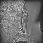 Taku Glacier, terminus of tidewater glacier and braided stream, September 1, 1977 (GLACIERS 6260).jpg