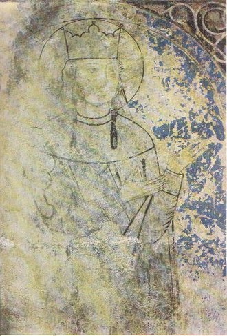 Tamar of Georgia - Tamar as depicted on a 13th-century mural from the Kintsvisi monastery.