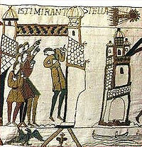 Comet Halley depicted on the Bayeux Tapestry which shows King Harold I being told of Halley's Comet before the Battle of Hastings in 1066.