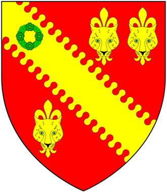 Baron Tennyson - Arms of Tennyson: Gules, a bend nebuly or thereon a chaplet vert between three leopard's faces jessant-de-lys of the second