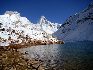 Kedartal -  Thalay Sagar peak from Kedartal in the West
