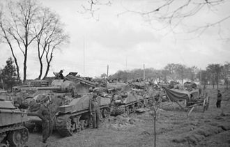 5th Guards Armoured Brigade - Rocket-armed Sherman tanks of the 1st Battalion Coldstream Guards, 5th Guards Armoured Brigade, 28 April 1945