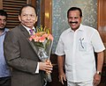 The Chief Justice of Bangladesh, Shri Surendra Kumar Sinha meeting the Union Minister for Law & Justice, Shri D.V. Sadananda Gowda, in New Delhi on October 07, 2015.jpg
