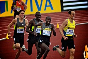 Emsley Carr Mile - Silas Kiplagat (second right) on his way to winning the 2012 Emsley Carr Mile