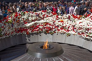 Tsitsernakaberd - The eternal flame at the center of the twelve slabs (April 24, 2014)
