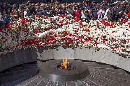 The Armenian Genocide Remembrance Day is a national holiday in Armenia. The Eternal Flame - Armenian Genocide Memorial in Yerevan.jpg