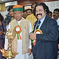 The Minister of State for Finance and Corporate Affairs, Shri Arjun Ram Meghwal lighting the lamp at a seminar on GST, organised by the Institute of Cost Accountants of India, in Chennai on June 16, 2017.jpg