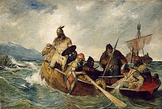 History of Iceland - Norsemen landing in Iceland. Painting by Oscar Wergeland (1909).