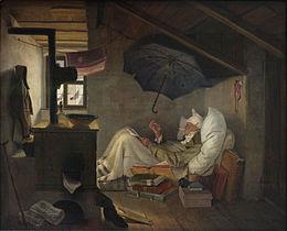 Le pauvre poète, Carl Spitzweg (1839). Le bonnet de nuit