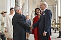The President, Shri Pranab Mukherjee, during the Farewell Ceremony by Their Majesties the King, Carl XVI Gustaf, Queen, Princess Victoria, at Royal Palace, Sweden on June 02, 2015.jpg