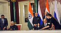 The Prime Minister, Shri Narendra Modi and the President of Russian Federation, Mr. Vladimir Putin witnessing the signing of agreements, at Moscow, in Russia on December 24, 2015 (1).jpg